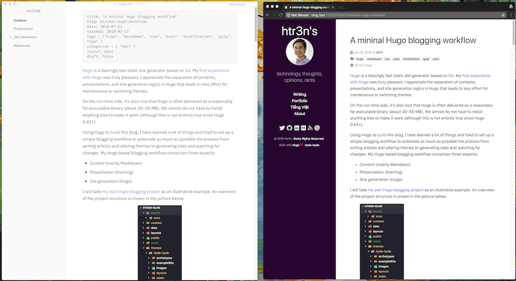 Typora (left) and the generated HTML pages (right)